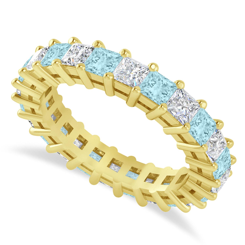 Princess Diamond & Aquamarine Wedding Band 14k Yellow Gold (3.12ct)