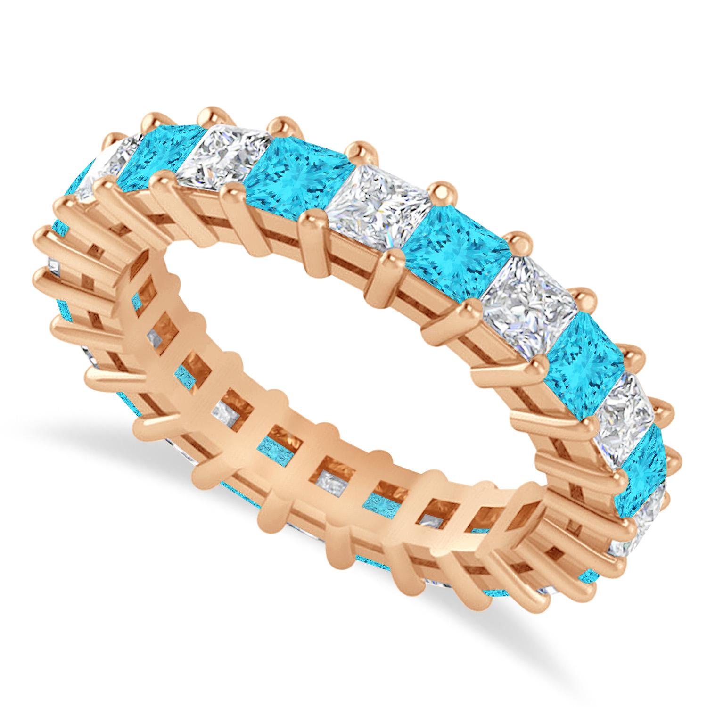 Princess Blue & White Diamond Wedding Band 14k Rose Gold (3.12ct)