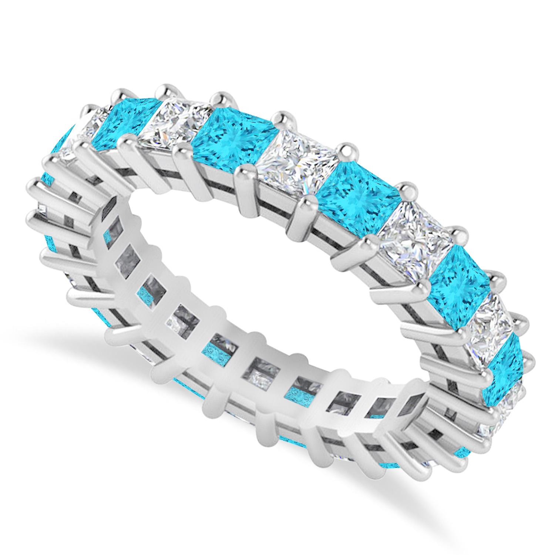 Princess Blue & White Diamond Wedding Band 14k White Gold (3.12ct)