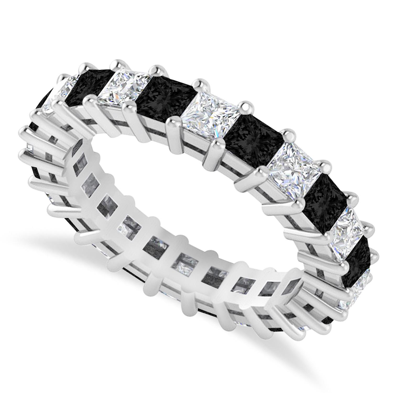Princess Black & White Diamond Wedding Band 14k White Gold (3.12ct)