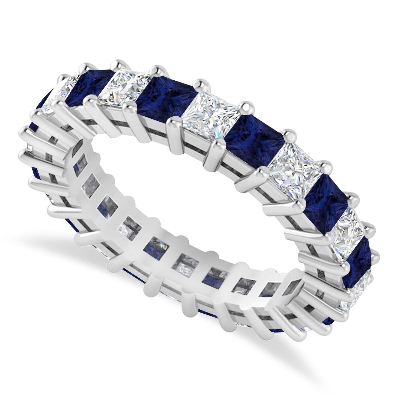 Princess Diamond & Blue Sapphire Wedding Band 14k White Gold (3.12ct)