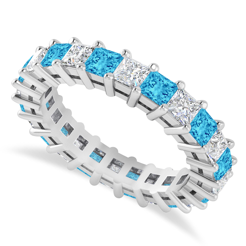 Princess Diamond & Blue Topaz Wedding Band 14k White Gold (3.12ct)