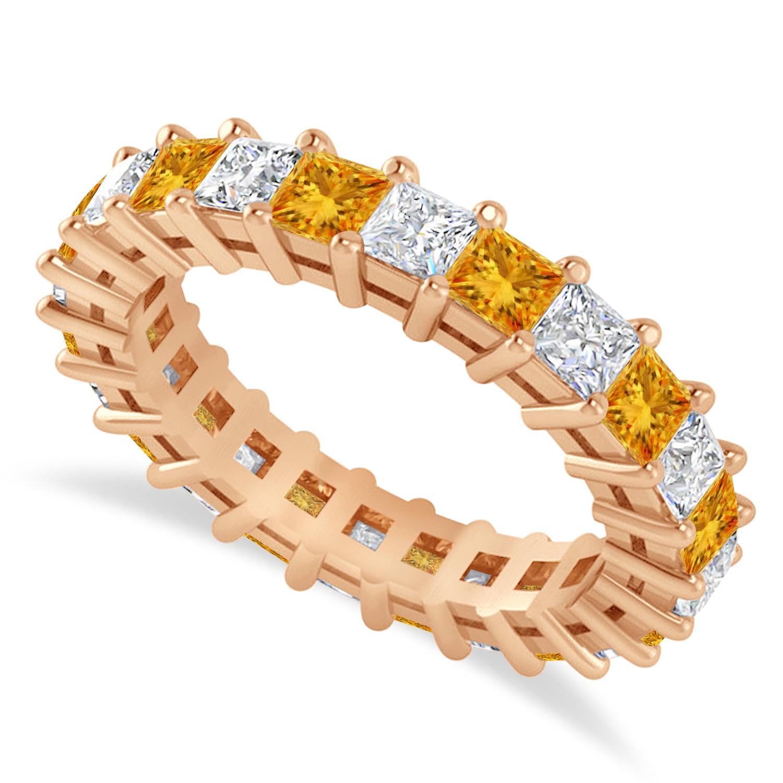 Princess Diamond & Citrine Wedding Band 14k Rose Gold (3.12ct)