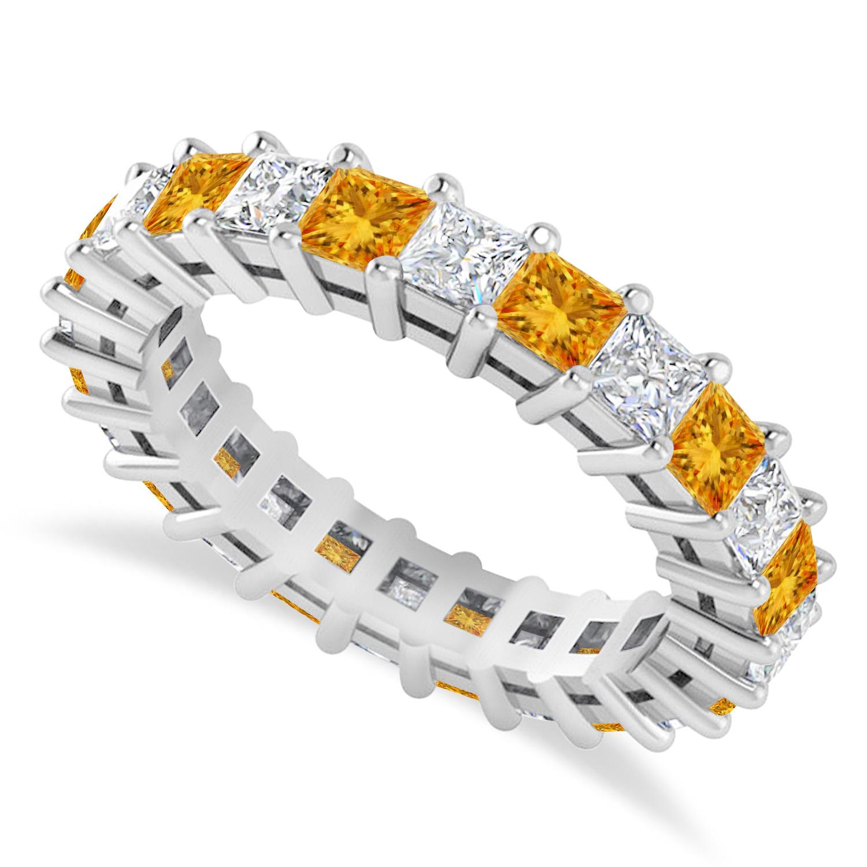 Princess Diamond & Citrine Wedding Band 14k White Gold (3.12ct)
