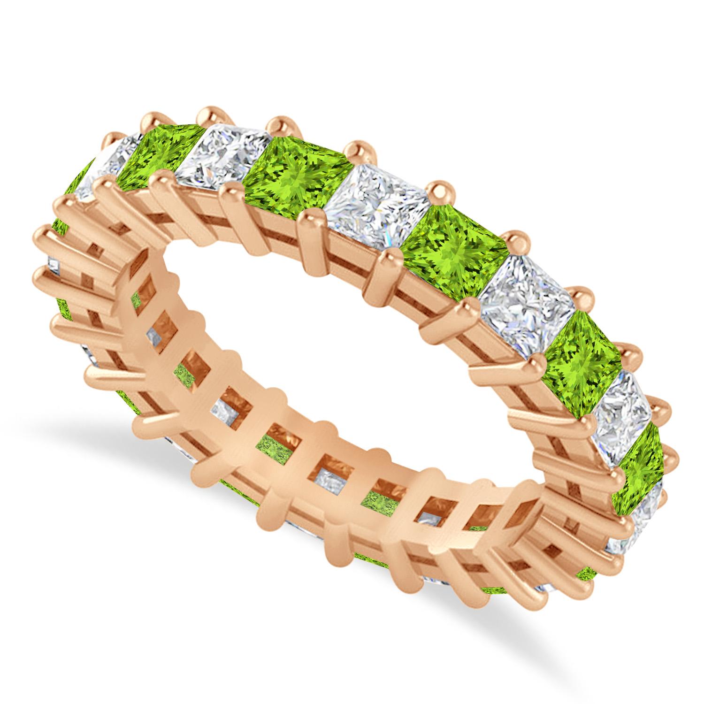 Princess Diamond & Peridot Wedding Band 14k Rose Gold (3.12ct)