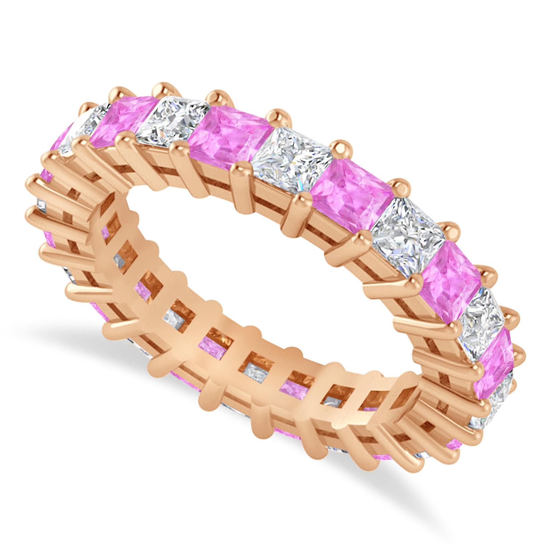 Princess Diamond & Pink Sapphire Wedding Band 14k Rose Gold (3.12ct)