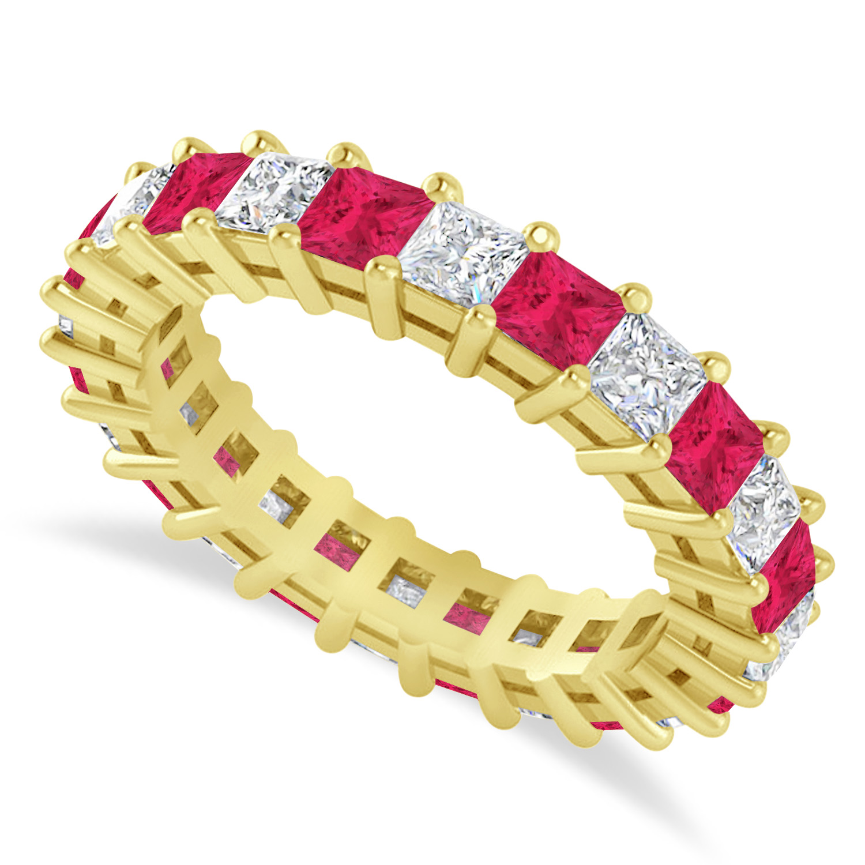 Princess Diamond & Ruby Wedding Band 14k Yellow Gold (3.12ct)