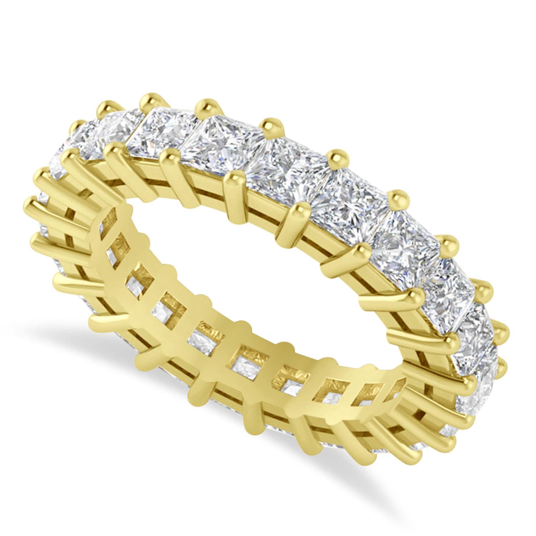 Princess Cut Diamond Eternity Wedding Band 14k Yellow Gold (3.96ct)