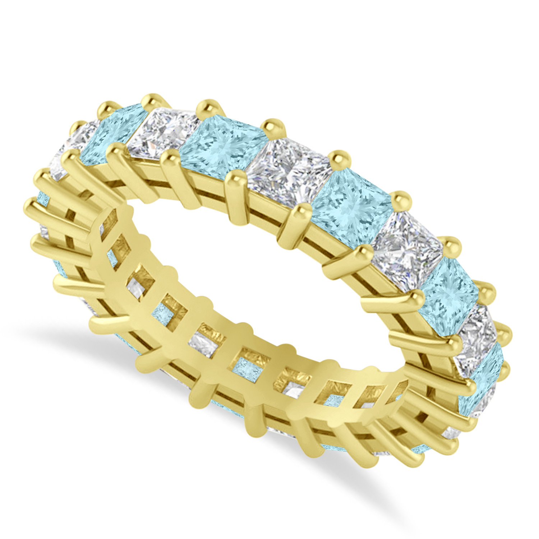 Princess Diamond & Aquamarine Wedding Band 14k Yellow Gold (4.18ct)