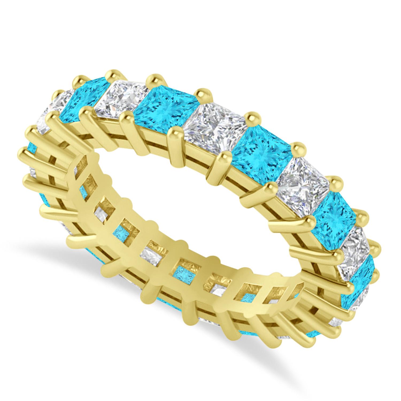Princess Blue & White Diamond Wedding Band 14k Yellow Gold (3.96ct)