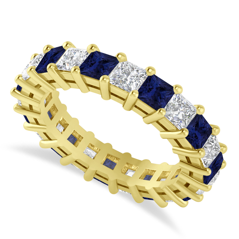 Princess Diamond & Blue Sapphire Wedding Band 14k Yellow Gold (4.18ct)