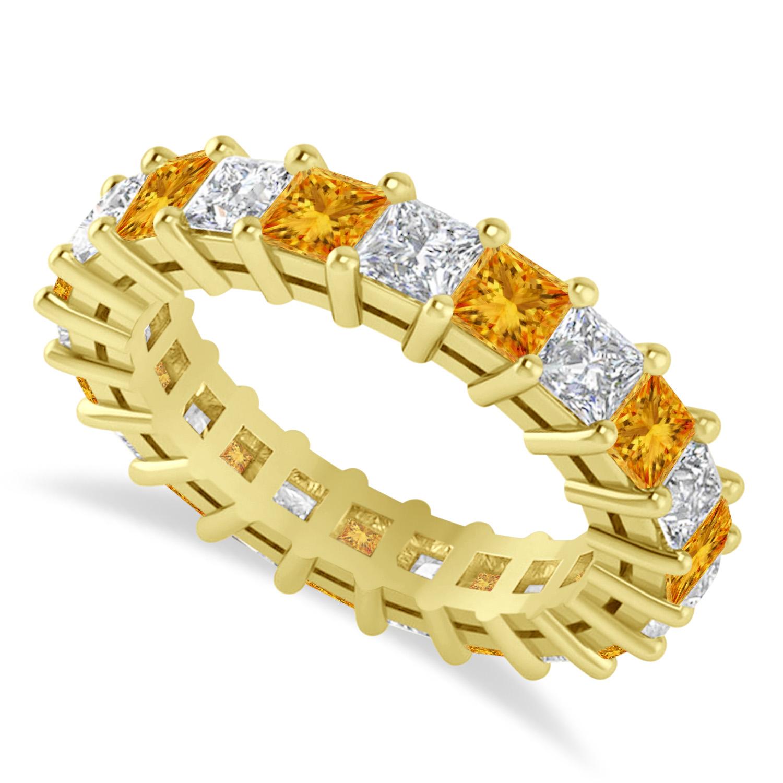 Princess Diamond & Citrine Wedding Band 14k Yellow Gold (4.18ct)