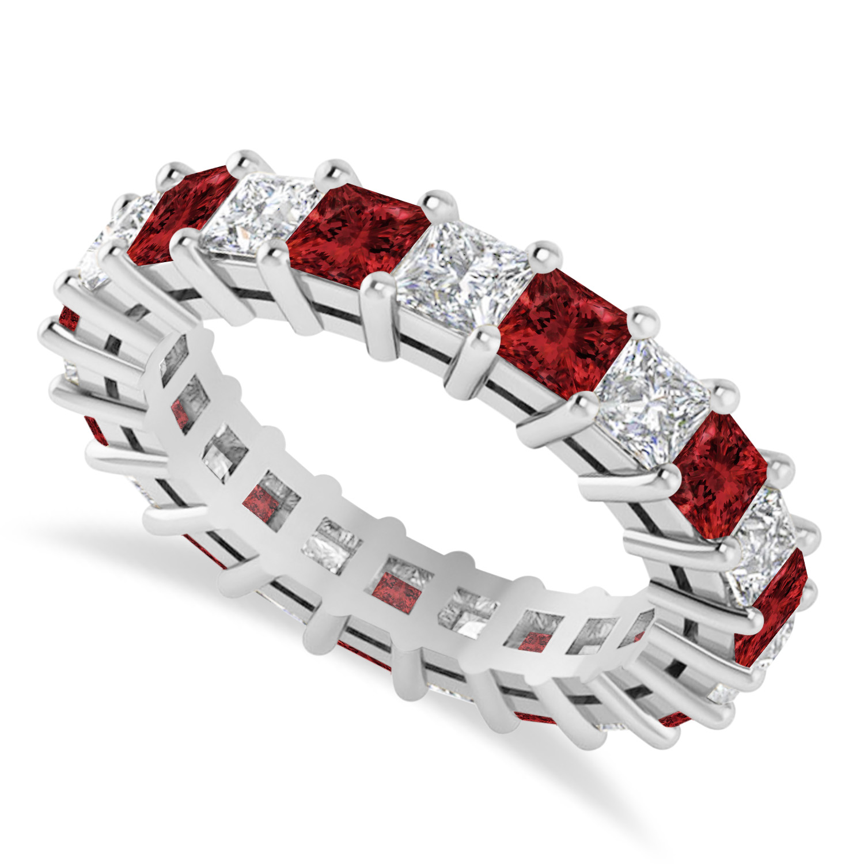 Princess Diamond & Garnet Wedding Band 14k White Gold (4.18ct)