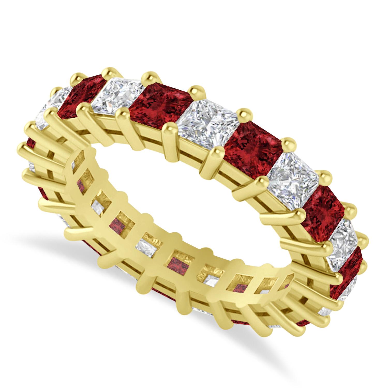 Princess Diamond & Garnet Wedding Band 14k Yellow Gold (4.18ct)