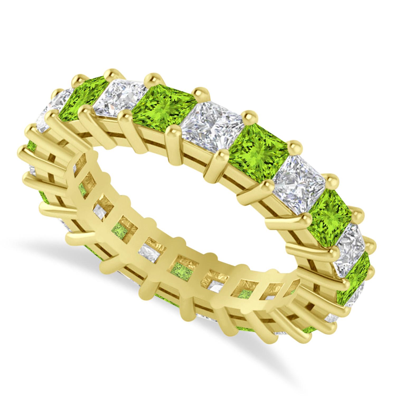 Princess Diamond & Peridot Wedding Band 14k Yellow Gold (4.18ct)