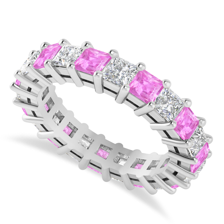 Princess Diamond & Pink Sapphire Wedding Band 14k White Gold (4.18ct)
