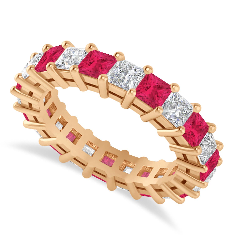 Princess Diamond & Ruby Wedding Band 14k Rose Gold (4.18ct)