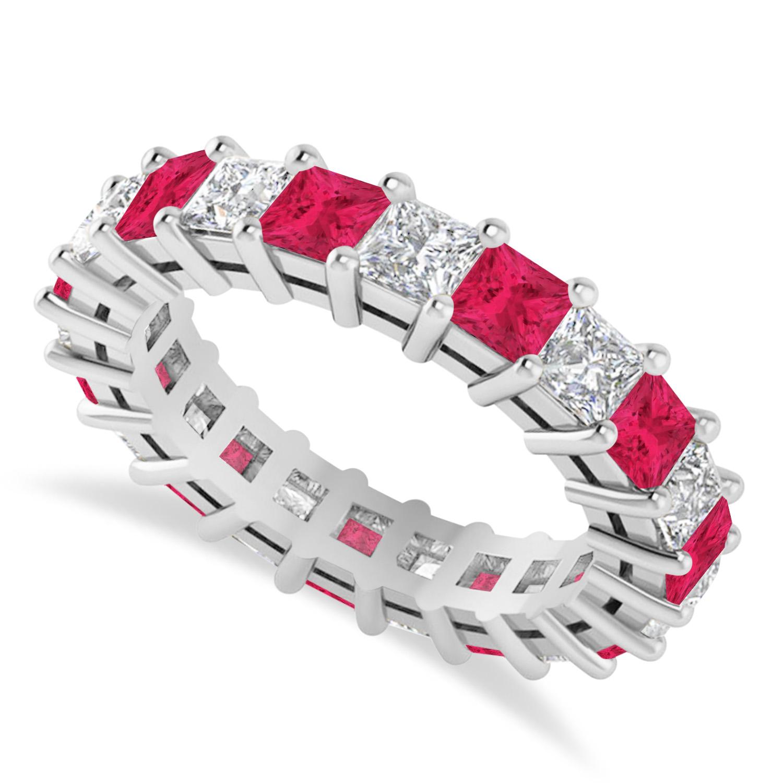 Princess Diamond & Ruby Wedding Band 14k White Gold (4.18ct)