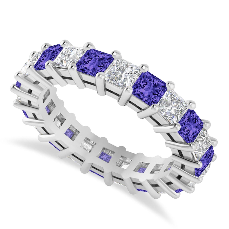 Princess Diamond & Tanzanite Wedding Band 14k White Gold (4.18ct)