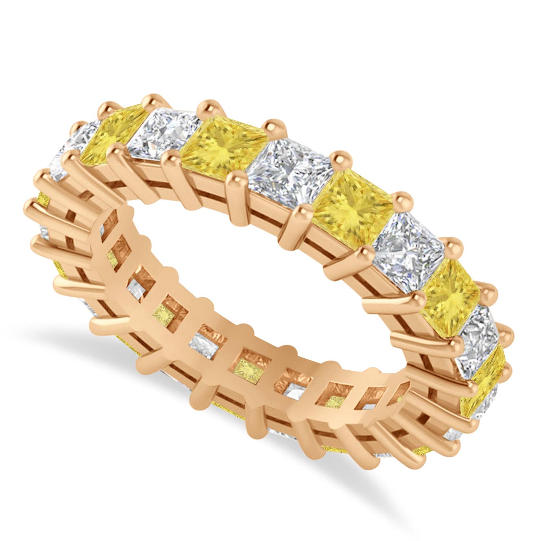 Princess Yellow & White Diamond Wedding Band 14k Rose Gold (3.96ct)