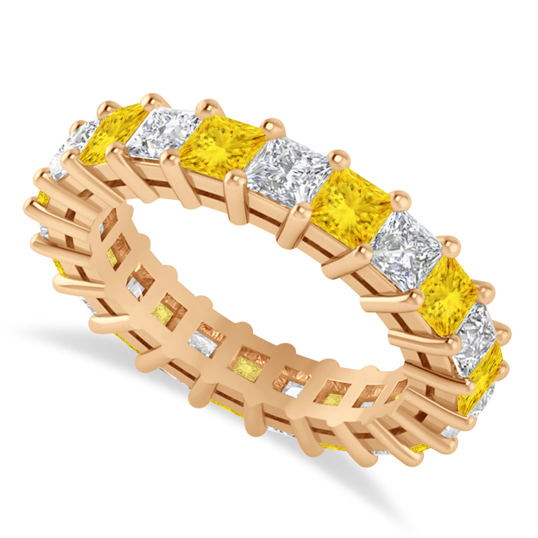 Princess Diamond & Yellow Sapphire Wedding Band 14k Rose Gold (4.18ct)