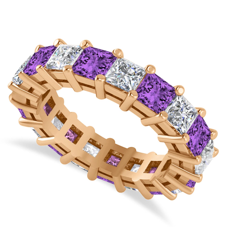 Princess Diamond & Amethyst Wedding Band 14k Rose Gold (5.61ct)