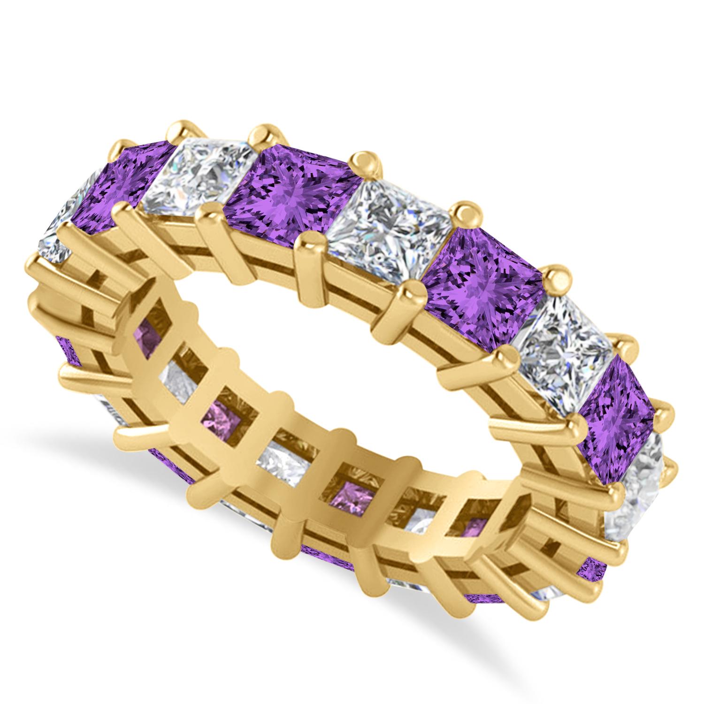 Princess Diamond & Amethyst Wedding Band 14k Yellow Gold (5.61ct)