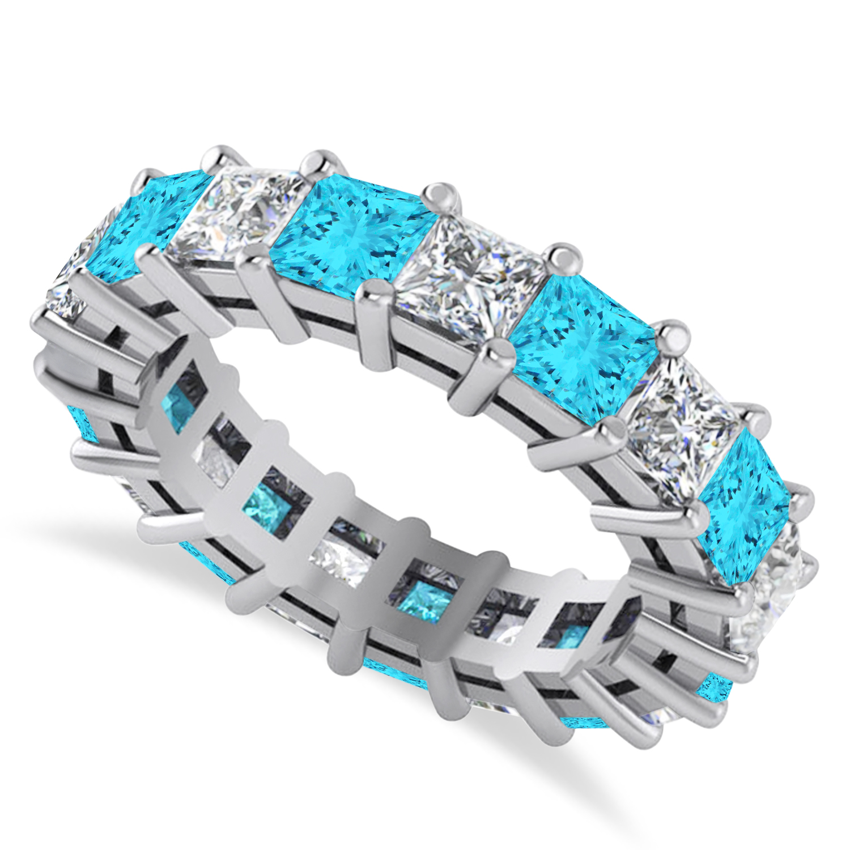 Princess Blue & White Diamond Wedding Band 14k White Gold (5.51ct)