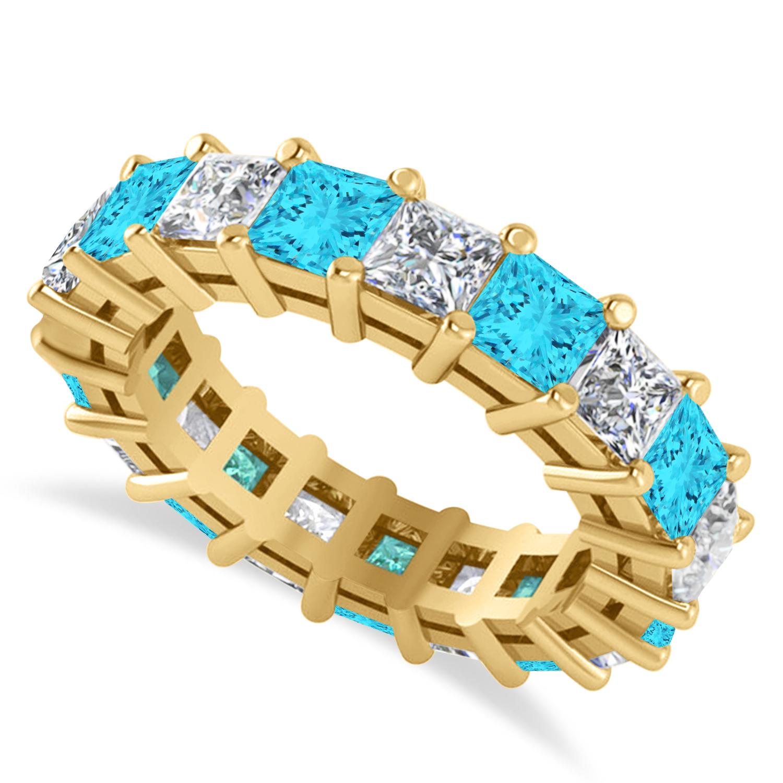 Princess Blue & White Diamond Wedding Band 14k Yellow Gold (5.51ct)