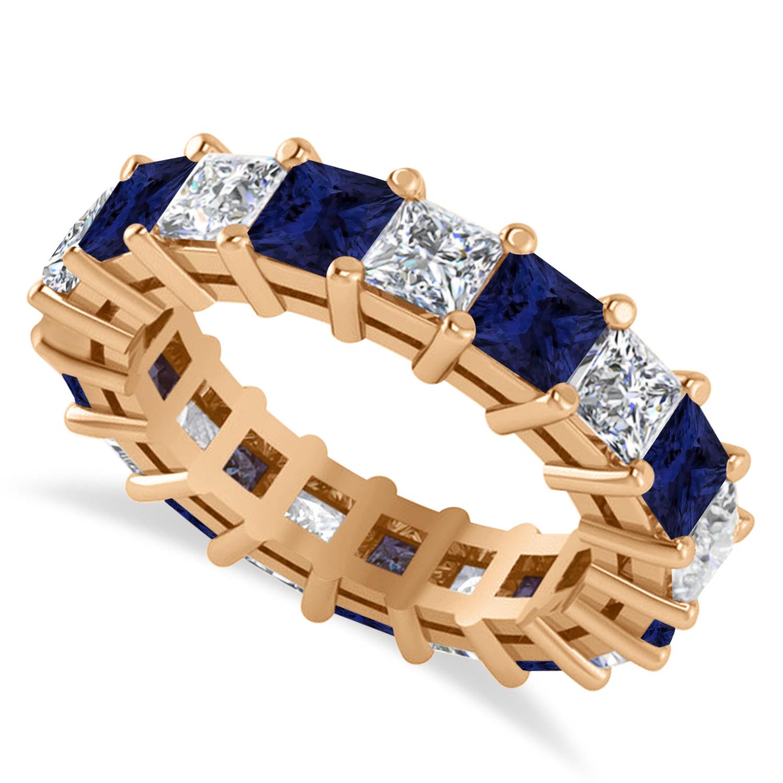Princess Diamond & Blue Sapphire Wedding Band 14k Rose Gold (5.61ct)