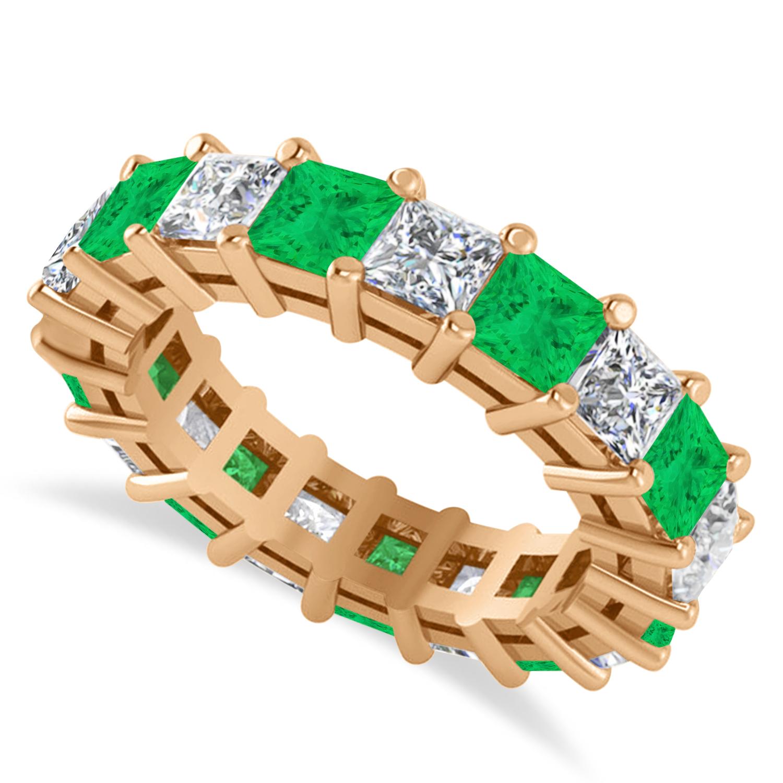 Princess Diamond & Emerald Wedding Band 14k Rose Gold (5.61ct)
