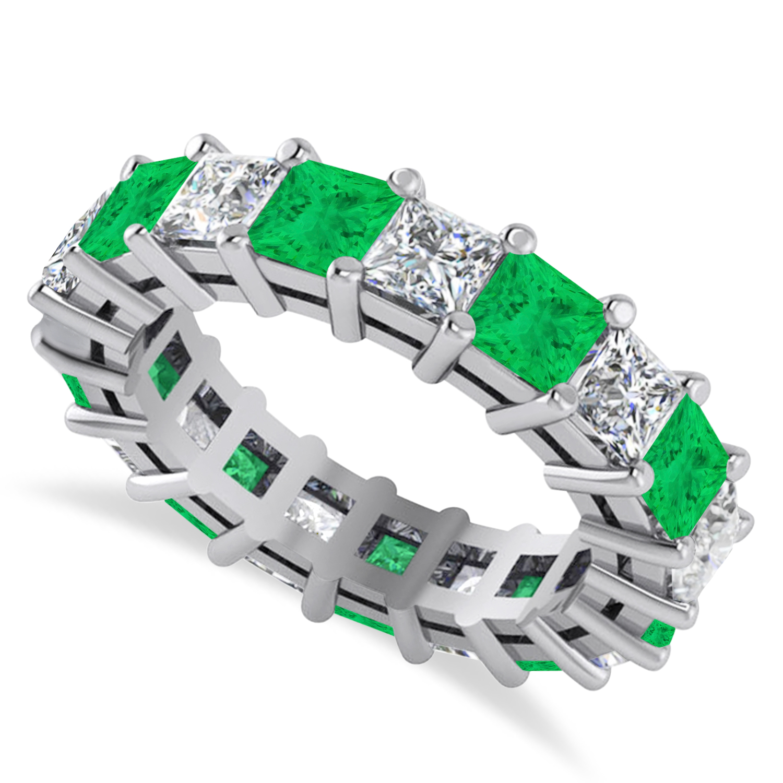 Princess Diamond & Emerald Wedding Band 14k White Gold (5.61ct)