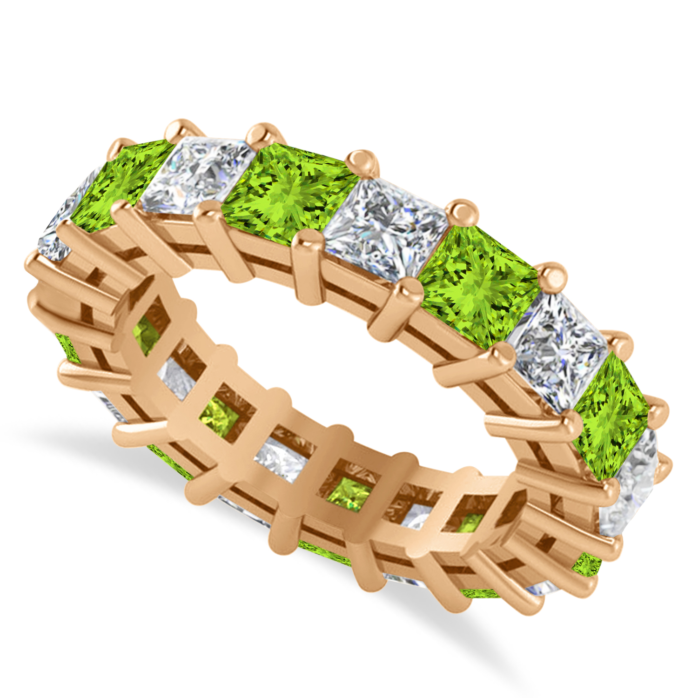Princess Diamond & Peridot Wedding Band 14k Rose Gold (5.61ct)