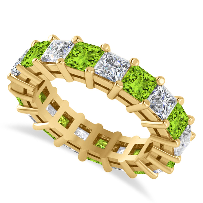 Princess Diamond & Peridot Wedding Band 14k Yellow Gold (5.61ct)