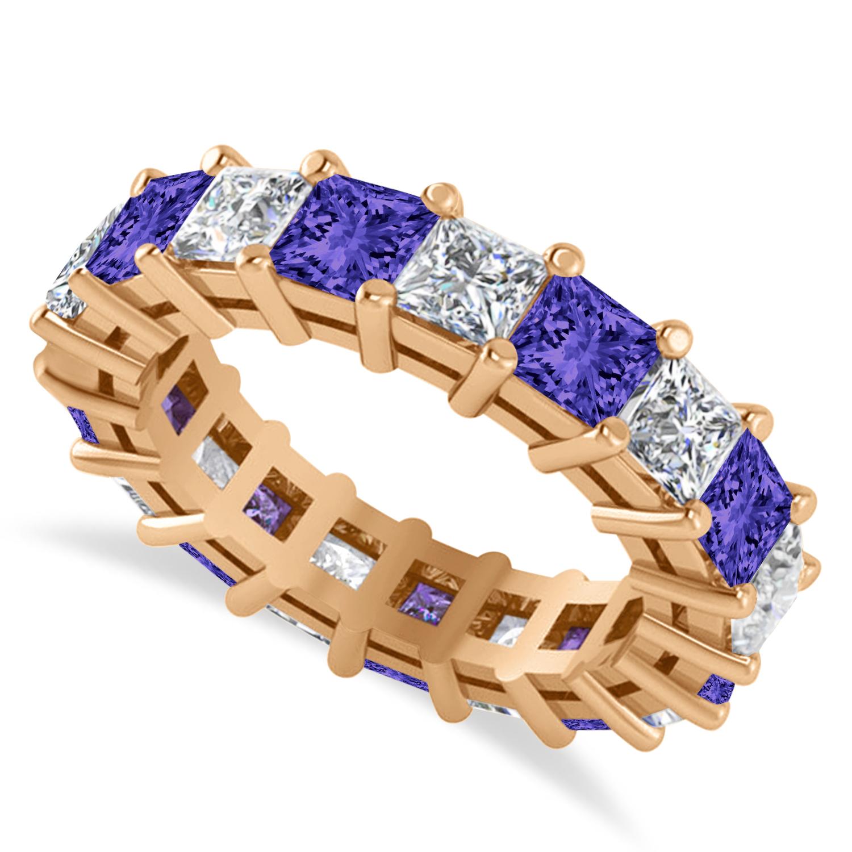 Princess Diamond & Tanzanite Wedding Band 14k Rose Gold (5.61ct)