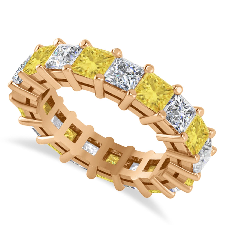 Princess Yellow & White Diamond Wedding Band 14k Rose Gold (5.51ct)