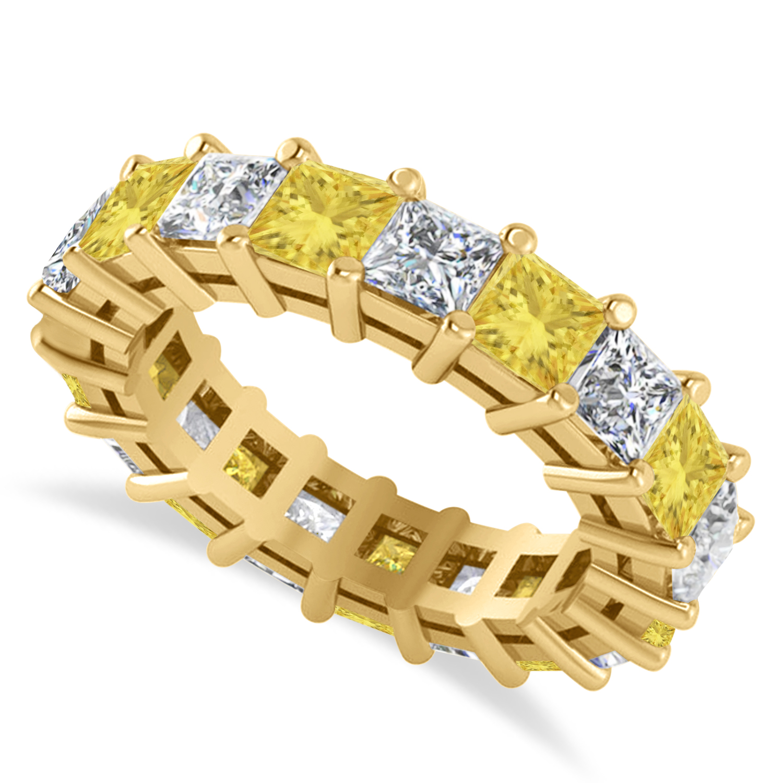 Princess Yellow & White Diamond Wedding Band 14k Yellow Gold (5.51ct)