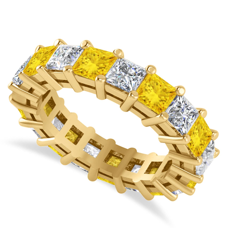 Princess Diamond & Yellow Sapphire Wedding Band 14k Yellow Gold (5.61ct)