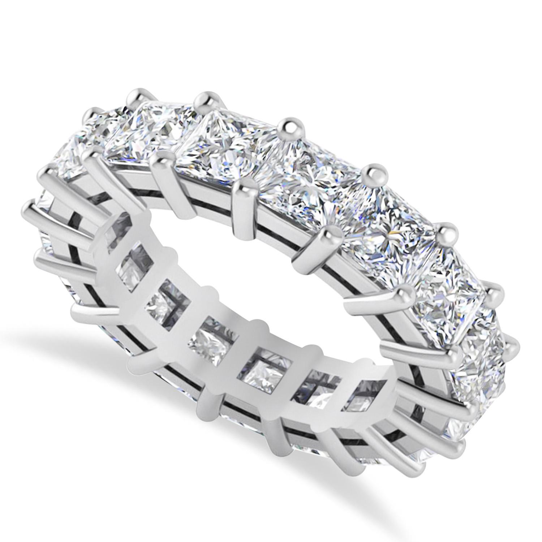 Princess Cut Diamond Eternity Wedding Band 14k White Gold (6.63ct)