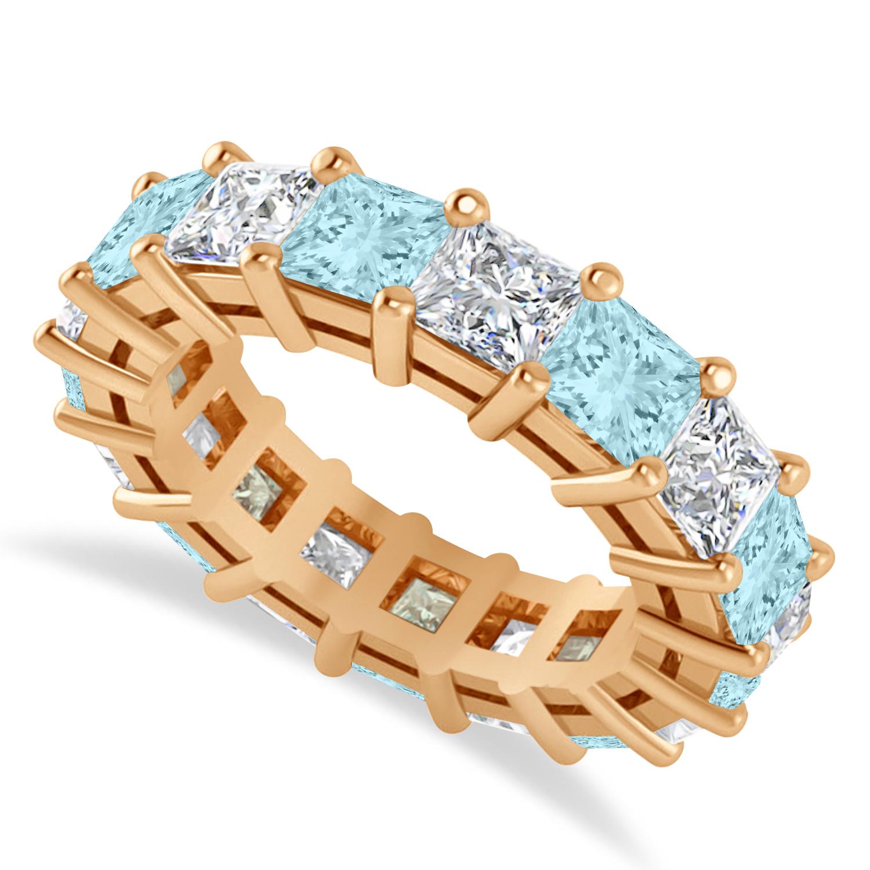 Princess Diamond & Aquamarine Wedding Band 14k Rose Gold (7.17ct)