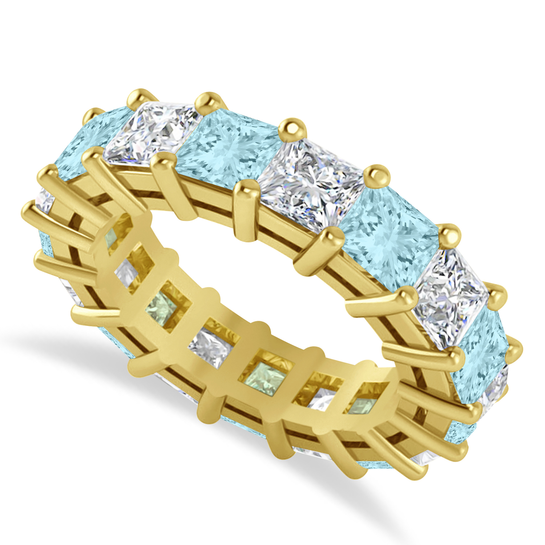 Princess Diamond & Aquamarine Wedding Band 14k Yellow Gold (7.17ct)