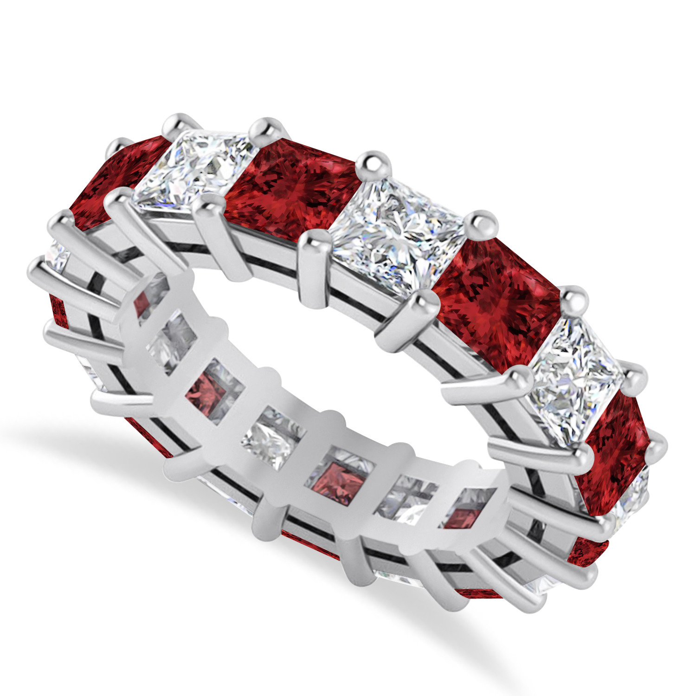 Princess Diamond & Garnet Wedding Band 14k White Gold (7.17ct)