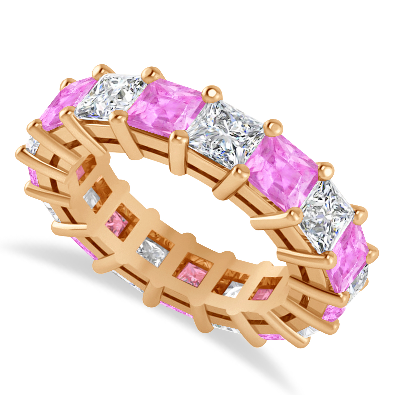 Princess Diamond & Pink Sapphire Wedding Band 14k Rose Gold (7.17ct)