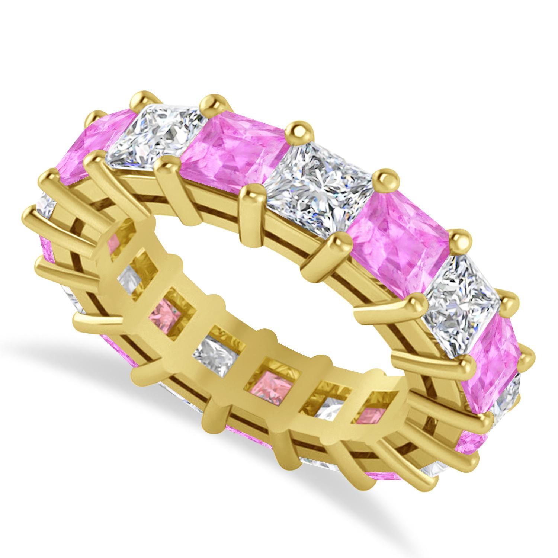 Princess Diamond & Pink Sapphire Wedding Band 14k Yellow Gold (7.17ct)