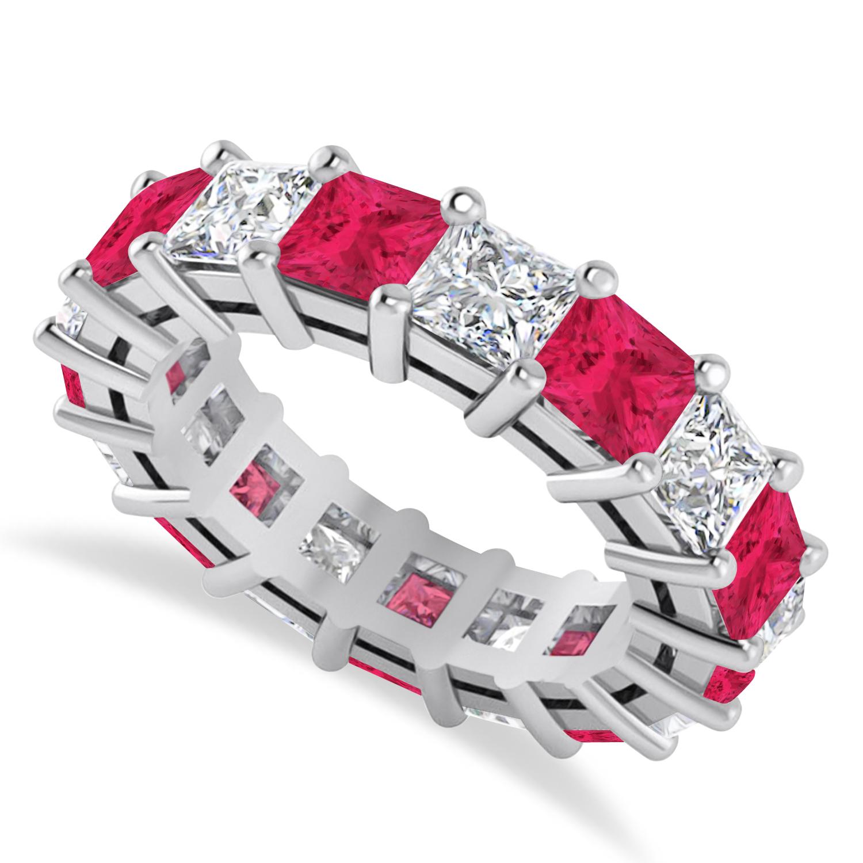 Princess Diamond & Ruby Wedding Band 14k White Gold (7.17ct)