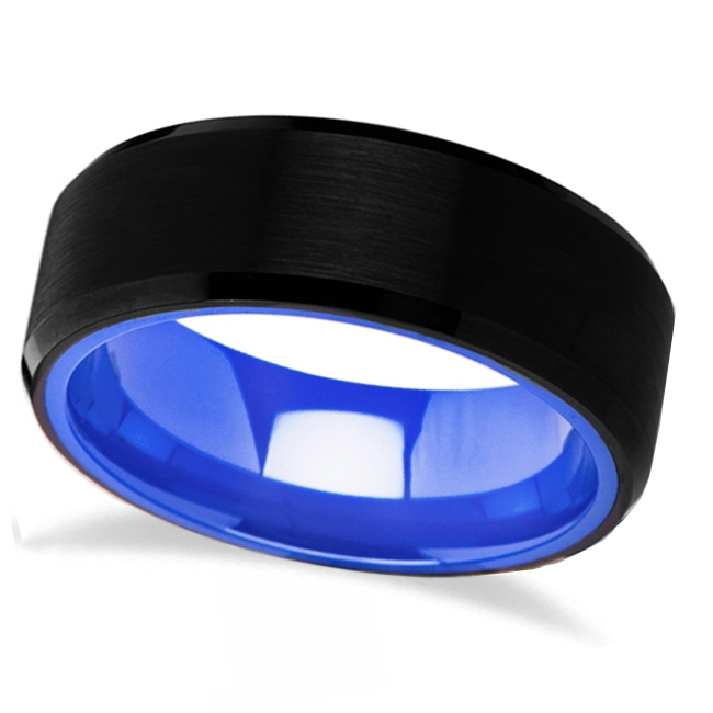 Deep Blue & Black Tungsten Comfort Fit Wedding Band (8mm)