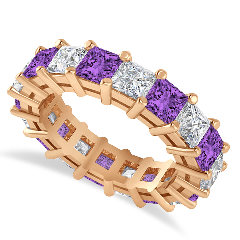 Princess Diamond & Amethyst Wedding Band 14k Rose Gold (5.94ct)