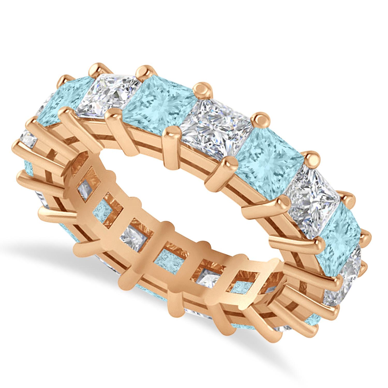 Princess Diamond & Aquamarine Wedding Band 14k Rose Gold (5.94ct)