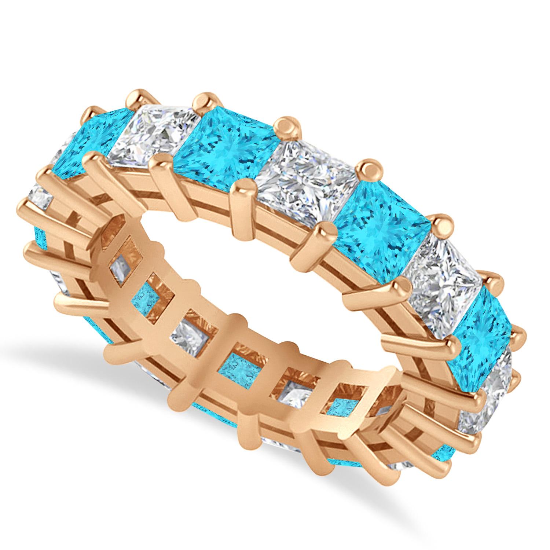 Princess Blue & White Diamond Wedding Band 14k Rose Gold (5.58ct)