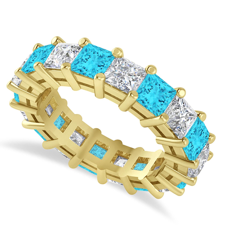Princess Blue & White Diamond Wedding Band 14k Yellow Gold (5.58ct)